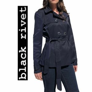 Black Rivet- Double Breasted Trench